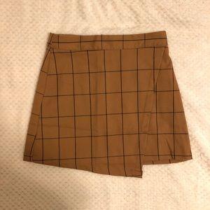 Forever21 Camel Grid Print Skirt